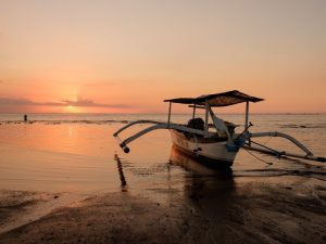 Sunset Lovina beach Bali Indonesia