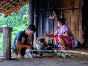 Thailand chiang mai karen hill tribes locals cooking