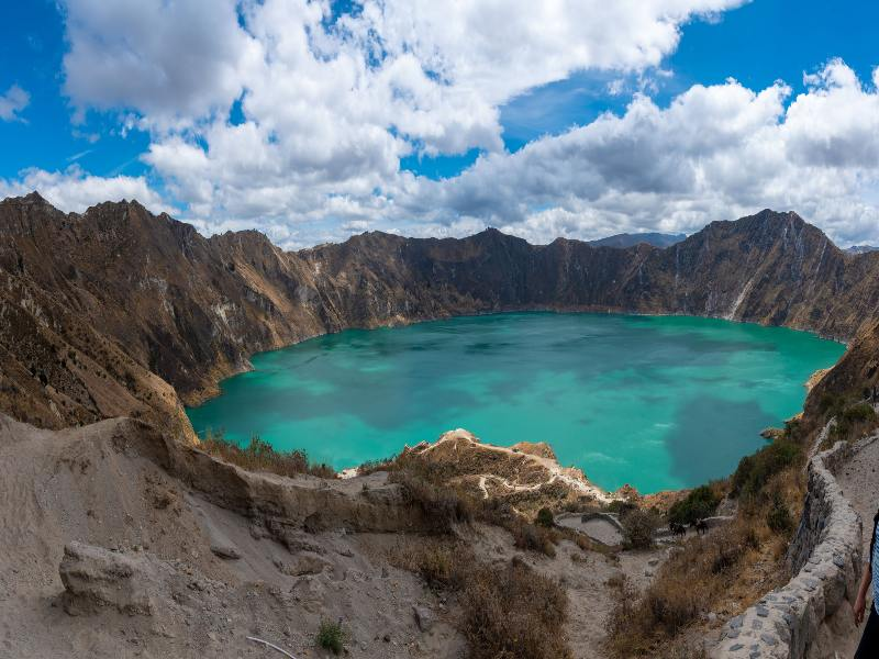 Panorama Quilotoa volcano with its water-filled caldera