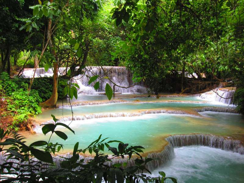 coclourful waterfall in the jungle