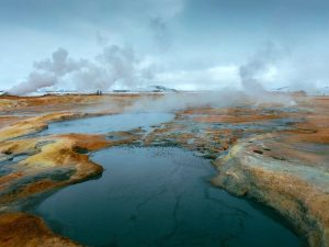 View of small steaming pools of water