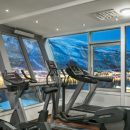 a gym overlooking the mountains