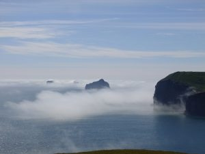 misty scenes on the sea with islands